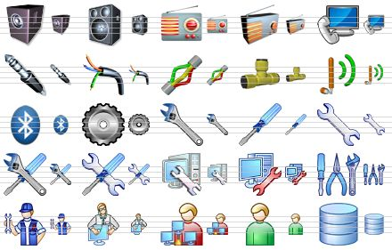Hardware Icons on Computer Speaker Wire